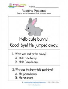 Kindergarten Reading Passages - Bunny. A Kindergarten Reading Comprehension Worksheet.