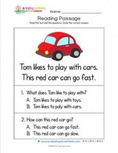 Kindergarten Reading Passages - Car. A Kindergarten Reading Comprehension Worksheet.