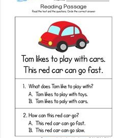 Kindergarten Reading Passages - Car. A Kindergarten Reading Comprehension Worksheet.