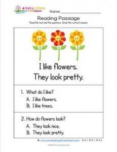 Kindergarten Reading Passages - Flowers. A Kindergarten Reading Comprehension Worksheet.