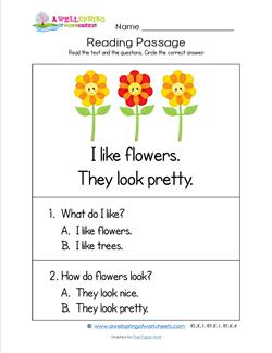 Kindergarten Reading Passages - Flowers. A Kindergarten Reading Comprehension Worksheet.
