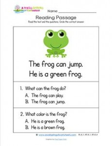 math worksheet : kindergarten reading passages  frog  a wellspring : Kindergarten Comprehension Worksheet