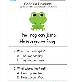 Kindergarten Reading Passages - Frog. A Kindergarten Reading Comprehension Worksheet.