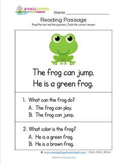 Kindergarten Reading Passages - Frog. A Kindergarten Reading Comprehension Worksheet.