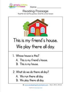 Kindergarten Reading Passages - House. A Kindergarten Reading Comprehension Worksheet.