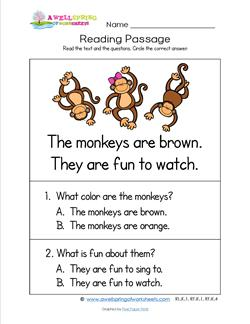 Kindergarten Reading Passages - Monkeys. Part of a set of two line, sight word rich reading passages.