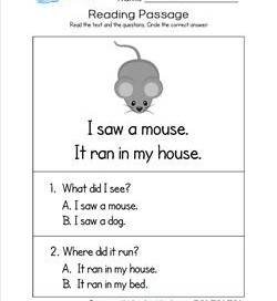 Kindergarten Reading Passages - Mouse. Part of a set of two line, sight word rich reading passages.