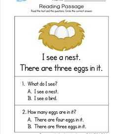 Kindergarten Reading Passages - Nest. Part of a set of two line, sight word rich reading passages.
