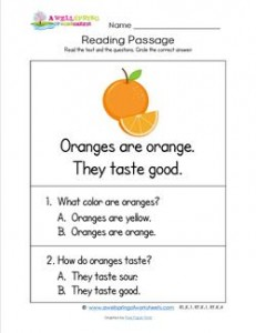 Kindergarten Reading Passages - Orange