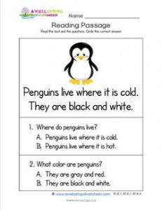 Kindergarten Reading Passages - Penguins