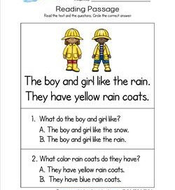 Kindergarten Reading Passages - Rain