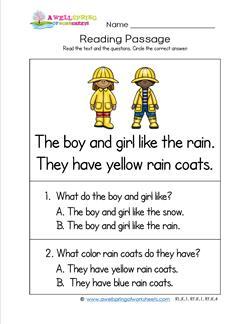 Kindergarten Reading Passages - Rain