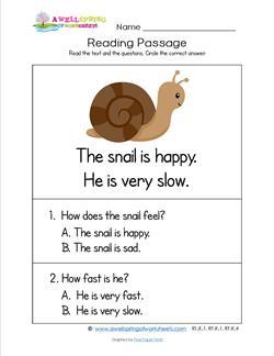 Kindergarten Reading Passages - Snail