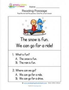 Kindergarten Reading Passages - Snow