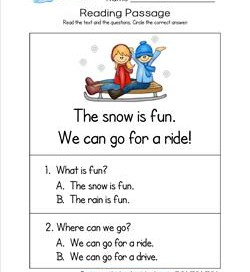 Kindergarten Reading Passages - Snow
