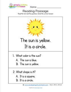 Kindergarten Reading Passages - Sun
