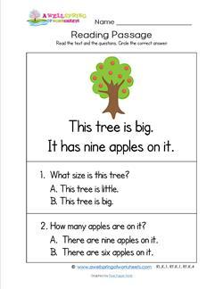 Kindergarten Reading Passages - Tree