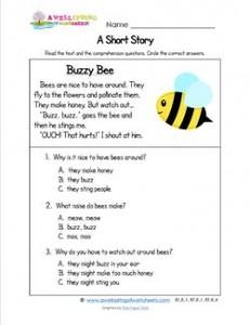Kindergarten Short Stories - Buzzy Bee