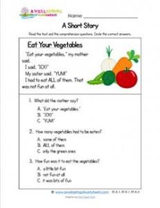 Kindergarten Short Stories - Eat Your Vegetables