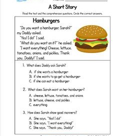 Kindergarten Short Stories - Hamburgers