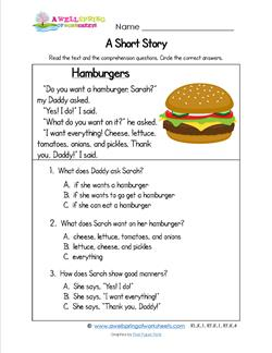 Printables Kindergarten Story grade a wellspring of worksheets kindergarten short stories hamburgers