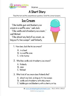 Printables Kindergarten Story grade a wellspring of worksheets kindergarten short stories ice cream