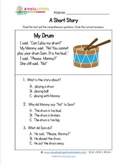 Kindergarten Short Stories - My Drum