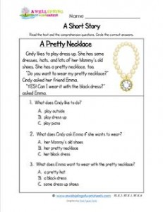 Kindergarten Short Stories - A Pretty Necklace | A Wellspring