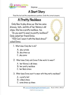 Kindergarten Short Stories - A Pretty Necklace. Three multiple choice reading comprehension questions.