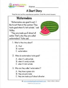 Kindergarten Short Stories - Watermelons. A Kindergarten Reading Comprehension Worksheet w/3 multiple choice questions.