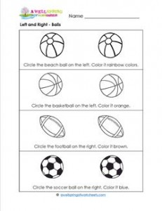 Left and Right - Balls - Position Words
