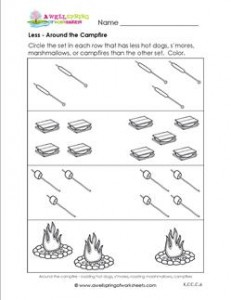 Less - Around the Campfire - Comparison Worksheets