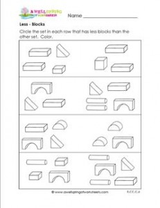 Less - Blocks - Comparison Worksheets