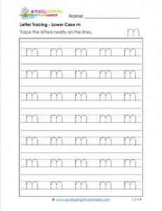 Letter Tracing - Lower Case m - Handwriting Practice Worksheets