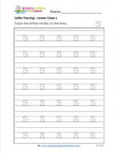 Letter Tracing - Lower Case s - Handwriting Practice Worksheets