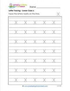 Letter Tracing - Lower Case x - Handwriting Practice Worksheets