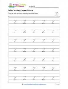Letter Tracing - Lower Case z - Handwriting Practice Worksheets