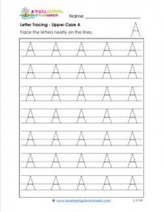 Letter Tracing - Upper Case A - Handwriting Practice Pages