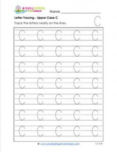 Letter Tracing - Upper Case C - Handwriting Practice Pages