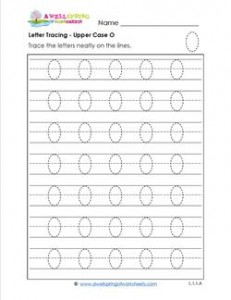 Letter Tracing - Upper Case O - Handwriting Practice Pages