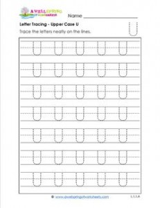 Letter Tracing - Upper Case U - Handwriting Practice Pages