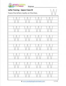 Letter Tracing - Upper Case W - Handwriting Practice Pages