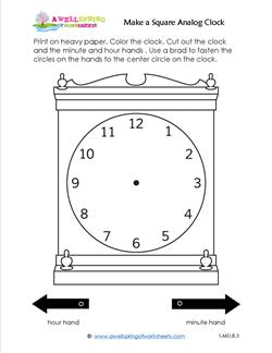 Make a Square Analog Clock - Telling Time to the Hour