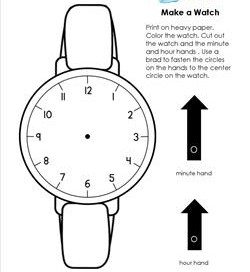 Make a Watch with and Hour Hand and Minute Hand - Telling Time to the Hour