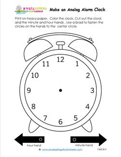 Make An Analog Alarm Clock on first grade clock worksheets