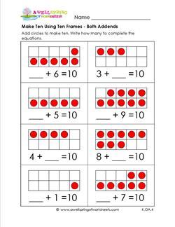 make ten using ten frames - both addends