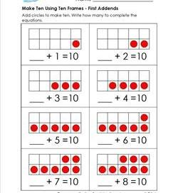 make ten using ten frames - first addends