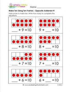 make ten using ten frames - opposite addends #1