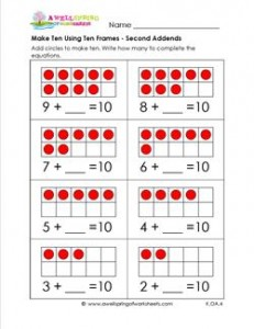 make ten using ten frames - second addends