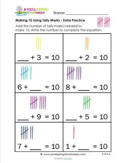 making 10 using tally marks - extra practice